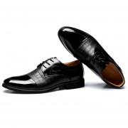 Zapatos Hombre De Vestir Y Ecocuero Mezclado Con Cordón - Negro
