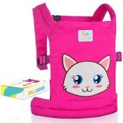 HappyVk Portabuñecas para niños con bonito bordado de gato y dos lazos gratis para él. Se adapta a muñecas o animales peludos de hasta 24 pulgadas, parte delantera y trasera (como mochila) posiciones de uso