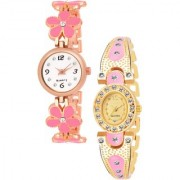 Varni Retail Pink Flower Belt And Gold Pink Oval Dial Diamond 2 Combo Watch Girls