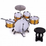 HALO NATION Jazz Drum Set Big Size Musical Drum Set with 5 Drums, Cymbal and Chair Musical Toy - Gold Edition