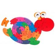 Puzzle din lemn Globo Legnoland, model Melc cu litere, 26 piese, multicolor, 40 x 30 cm