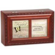 Cottage Garden My Friend Blessings Woodgrain Petite Music Box / Jewelry Box Plays ThatS What Friends
