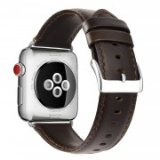 Top Layer Crazy Horse Cowhide Leather Watch Strap Replacement for Apple Watch Series 5 4 44mm, Series 3 / 2 / 1 42mm - Coffee