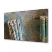 Tablou Canvas Premium Abstract Multicolor Harti Langa Perete Decoratiuni Moderne pentru Casa 80 x 160 cm