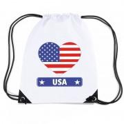 Bellatio Decorations Amerika USA hart vlag nylon rugzak wit