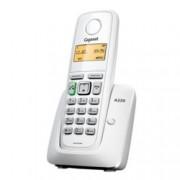 Безжичен телефон Gigaset A220, течнокристален черно-бял дисплей, бял
