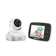 Baby Monitor SMARTIC SM38, camera 45 MP, Rotire Automata, Eco Mode, Cantece de leagan, Termometru, Alb Negru