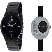 IIK Collection Black Men And Glory Big Black Dial PU Analog Couple Analog Watches For Men And Women