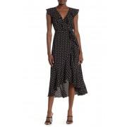Max Studio Patterned Ruffle Wrap Midi Dress BLKRED DELICATE DAISY