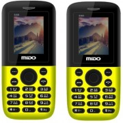 Mido 3300 yellow (Combo Of 2) Dual Sim Multimedia Phone Long Battery Wireless FM Auto Call Recorder And Multi language Support