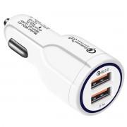 Incarcator Auto Dual 2 USB Techstar® Qualcomm Quick Charge 3.0 Adaptor 9V 2A Bricheta Alb