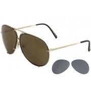 Porsche Design P8478 anteojos de sol (montura de titanio, lentes intercambiables, carcasa rígida), Dorado, 66-10-135