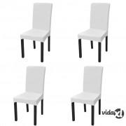 vidaXL Rastezljive navlake za stolice 4 kom Bijela boja