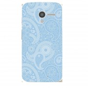 Case Motorola Moto X - Paisley Azul con Blanco