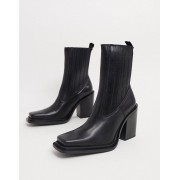 Mango square toe leather heeled boots in black - female - Black - Size: 41