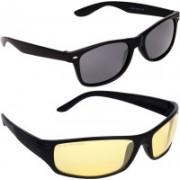 Aligatorr Wrap-around, Wayfarer Sunglasses(Grey, Golden)