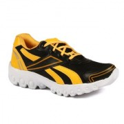 Shooz Mens Black And Yellow Lace-up Training Shoes