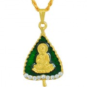 MissMister Gold Plated CZ Studded Lord Buddha on Green Enamelled Pan Leaf Design Chain Pendant Locket Temple Jewellery Necklace for Men and Women