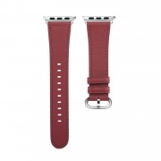 Genuine Leather Smart Watch Replacement Band for Apple Watch Series 5/4 44mm /Series 3/2/1 42mm - Wine Red