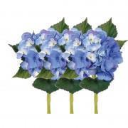 Bellatio flowers & plants 3x Blauwe Hortensia kunstbloemen met steel 48 cm