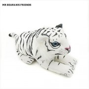 Mr. Bear & His Friends Small Plush Pendants Car Decor Dolls Stuffed Simulation Animals Tiger Tigeress Leopards Big-Cat Animal Toys Children Kids Gifts - White-Black Stripe