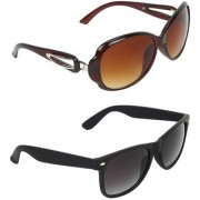 Zyaden Brown Oval UV Protection Unisex Sunglasses Combo
