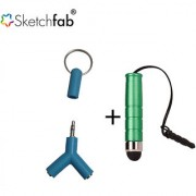 Sketchfab Y style 2 in 1 Aux Splitter 2 Way 3.5 MM AUX keychain Style High Sensitive Mini Stylus Pen - Multi Color
