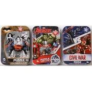 3 Mini Puzzles In Tin Cases Bundle: Captain America Civil War & Avengers & Batman Vs. Superman
