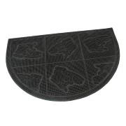 Gumová čistící venkovní vstupní půlkruhová rohož Shoes - Squares, FLOMA - délka 40 cm, šířka 60 cm a výška 0,7 cm