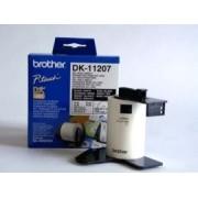Etichete laminate Brother DK11207 pentru CD/DVD 58 mm x 58 mm, negru/alb, 100 buc