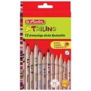 Creioane colorate triunghiulare 1/1 Trilino 12 buc/set Herlitz