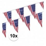 Geen 10x stuks Vlaggenlijnen Amerika/USA