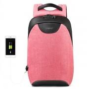 Laptop väska 15,6 tum med lås och USB-uttag - Rosa / Svart