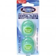 Active Oral Care Pocket Pack Mint Fluoride Dental Floss 2 x 12 m Tandtråd