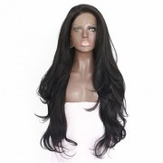 Sellers Destination Women Real Human Hair Full Wigs Long Wavy Hairpieces Front Lace Heat Safe for Cosplay Party Costume (size 26 Black)