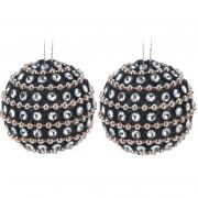 Bellatio Decorations 9x Kerstboomversiering zwarte kerstballen met steentjes 3,5 cm