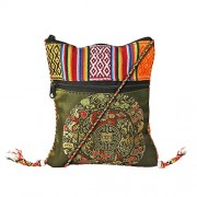ATLED Mehndi Green Cotton Casual Passport Sling Bag For Women