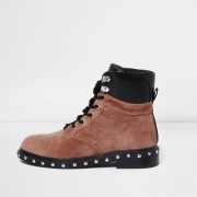 River Island Womens Pink velvet faux fur tongue lace-up boots