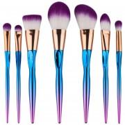 Pinceles De Maquillaje Ceja Delineador De Ojos Sonrojo Ocultador Cepillo 7PCS-Púrpura