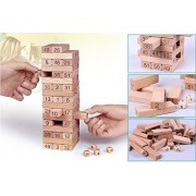 Shunkk™ 54 Pcs Blocks 4 Dices Wooden Tumbling Stacking Jenga Building Tower Game (22 cm Height, 7.2 cm / Block)