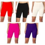 Jakqo Women's Cotton Bio-Wash Shorties (Free Size Pack of 5 Red Black Cream Hot Pink Dark Purple)