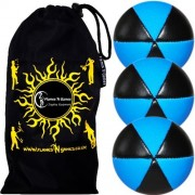 Flames N Games Astrix Uv Thud Juggling Balls Set Of 3 (Black/Blue) Pro 6 Panel Leather Juggling Ball Set & Travel Bag!