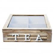 Cutie din lemn, pentru ceai, cu 4 compartimente