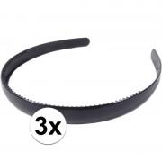 Geen 3x Zwarte dames diadeem/haarband 1,5 cm breed