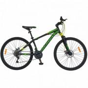 "Bicicleta Mountain Bike CARPAT Kaiser C2650A, Roti 26"", 21 viteze, Cadru otel 17"" (Negru/Verde)"