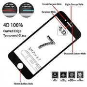 I phone 7 tempered glass Black 4d curved edge premium series with high quality real toughened glass pixel perfect clarity with cutout for proximity sensor -- tempered glass for apple iphone 7 plus black edge to edge 4d