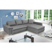Lifestyle4Living Ecksofa in grauem Webstoff, 3 Rückenkissen, 1 Zierkissen, Wellenunterfederung, Schlaffunktion, Schenkelmaße: ca. 265 x 185 cm