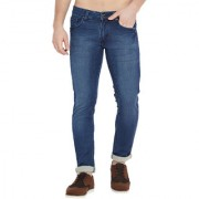 Stylox Men's Premium Stretchable Slim Fit Whisker Washed Blue Jeans