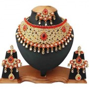 Designer Bollywood Style Pretty Gold Plated Kundan Zirconic Necklace Earings Tikka Jewelry Set