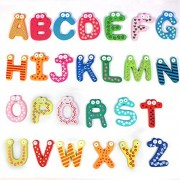 My Party Suppliers Cartoon Colorful Wooden A-Z Alphabet Letters Fridge Magnets Magnetic Stickers / Kids Learning Funny Alphabet